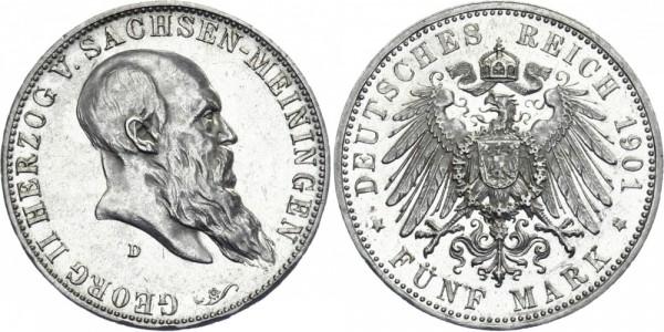 SACHSEN-MEININGEN 5 Mark 1901 D Georg II. Geburtstag
