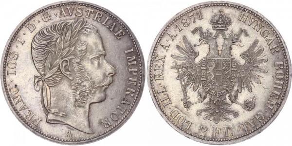 Österreich 2 Florin 1871 A Franz Josef