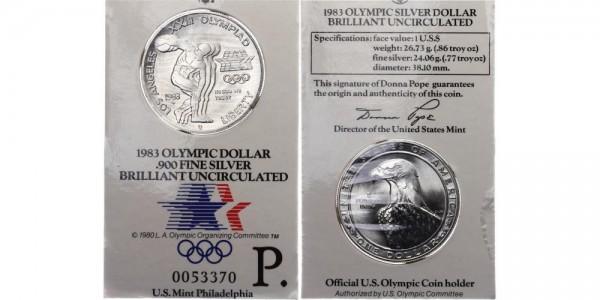 USA 1 Dollar 1983 Philadelphia Olympiade 1984