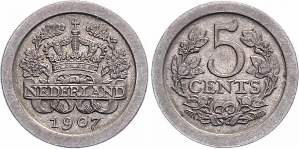 Niederlanden 5 Cent 1907,1908 - Kursmünze