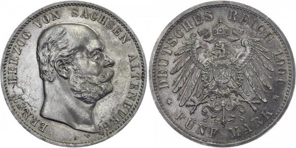 SACHSEN-ALTENBURG 5 Mark 1901 A Ernst Geburtstag