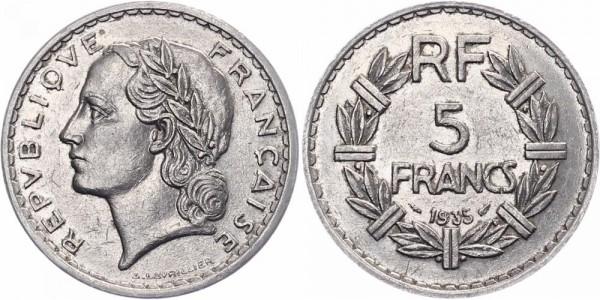 Frankreich 5 Francs 1935 - Kursmünze