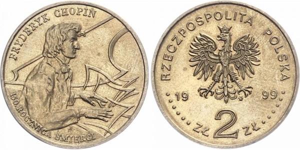 Polen 2 Złotych 1999 - 150 Todestag Frédéric Chopin