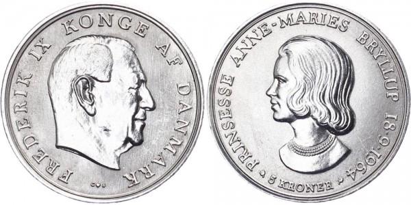 Dänemark 5 Kronen 1964 - Prinzessin Anne-Marie Bryllup