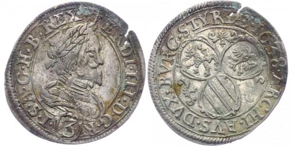RDR, Habsburg 3 Kreuzer 1638 Graz Ferdinand III. 1637-1657