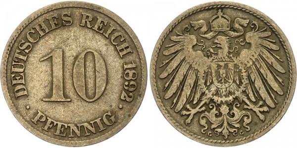 Kaiserreich 10 Pfennig 1892 G Kursmünze