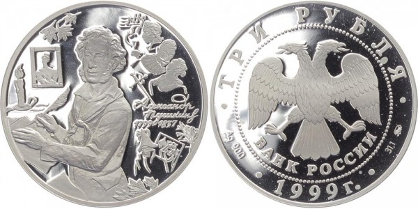 Russland 3 Rubel 1999 - Puskin am Schreibtisch