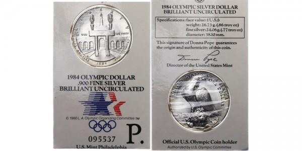 USA 1 Dollar 1984 Philadelphia Olympiade 1984
