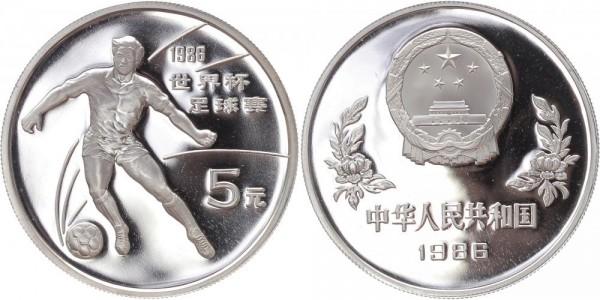 China 5 Yuan 1986 - Fußball WM Mexiko