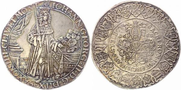 """Sachsen Breiter Doppeltaler 1663 Dresden Johann Georg II., 1656-1680, sog. """"Beichttaler"""""""