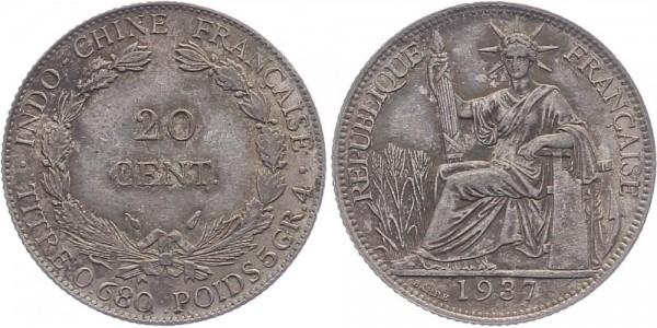 Französisch Indochina 20 Cents 1937