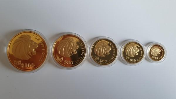 Singapur 1994 Löwen Set (Lion Gold Coins)