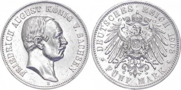 Sachsen 5 Mark 1908 E Friedrich August III.