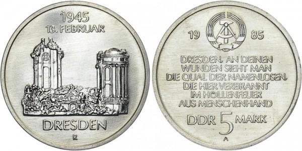 DDR 5 Mark 1985 A Zerstörung Dresdens