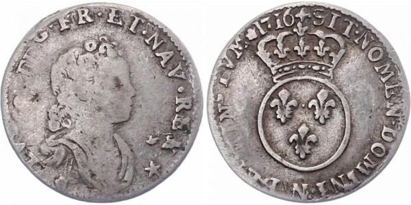 Frankreich 1/10 Ecu 1716 N (Montpellier) Ludwig XV.