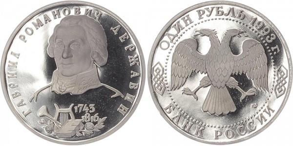 Russland 1 Rubel 1993 - Gavrii P. Derzavin