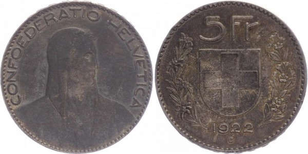 Schweiz 5 Franken 1922 B