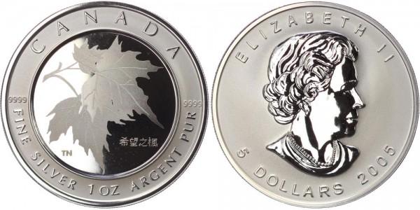 Kanada 5 Dollar 2005 Maple Leaf of Hope, mit chinesichem Privy Mark und in Lasertechnik