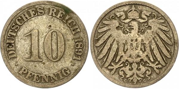 Kaiserreich 10 Pfennig 1891 G Kursmünze