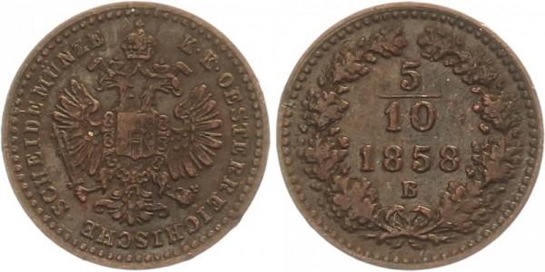 Österreich 5/10 Kreuzer 1858 B