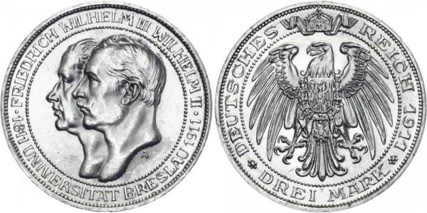 PREUSSEN 3 Mark 1911 A Wilhelm II. Uni Breslau