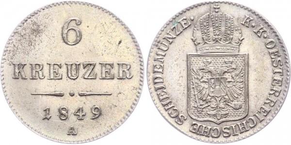 RDR/Österreich-Ungarn 6 Kreuzer 1849A Wien Franz Joseph I. (1848 - 1916 )