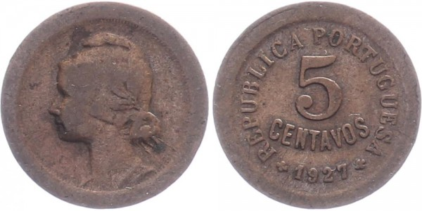 Portugal 5 centavos 1927 - Kursmünze