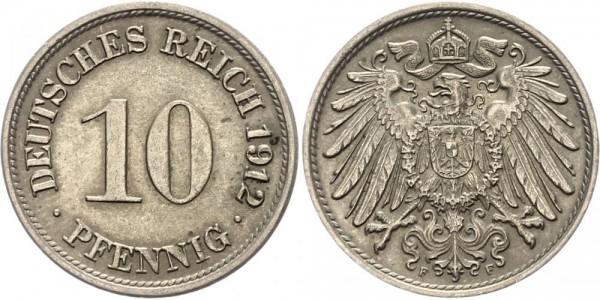 Kaiserreich 10 Pfennig 1912 F Kursmünze