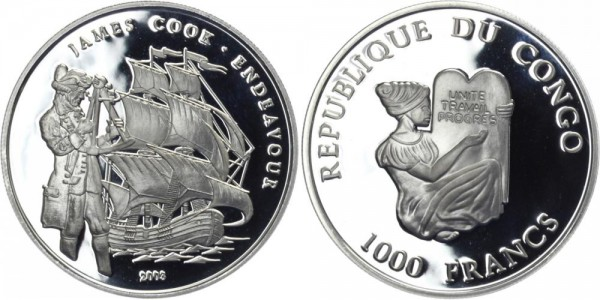 KONGO 1000 Francs 2003 - James Cook vor der Endeavour