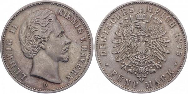 Bayern 5 Mark 1875 D Ludwig II.