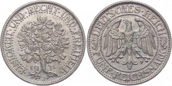 Weimarer Republik 5 Reichsmark 1931 J Eichbaum