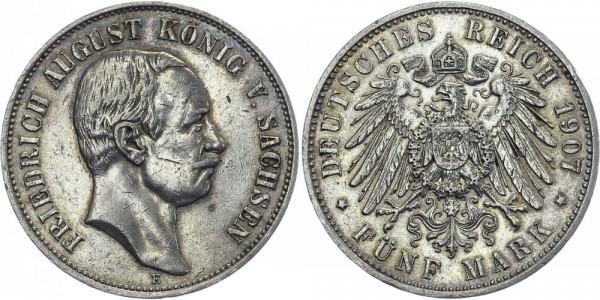 SACHSEN 5 Mark 1907 E Friedrich August III.