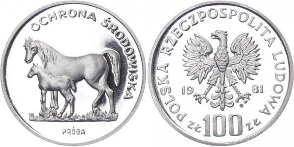 Polen 100 Zlotych 1981 - Pferde
