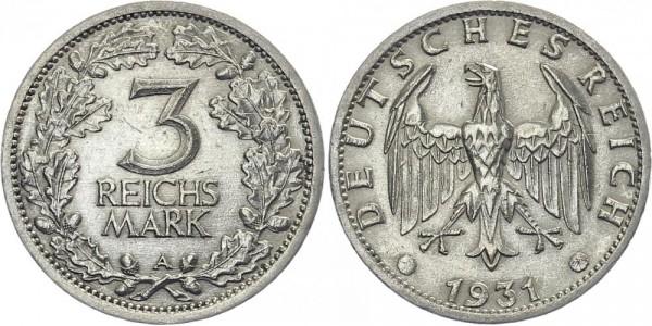 Weimarer Republik 3 Mark 1931 A Kursmünze