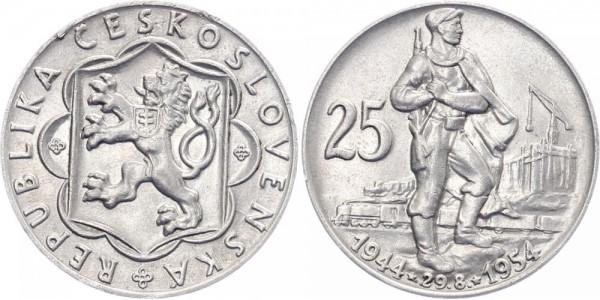 Tschechoslowakei 25 Kronen 1954 - 10 Jahre slowakischer Aufstand