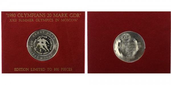 DDR 20 Mark 1980 - Abbe, Gegenstempel mit falscher Zahl XIX., Olympiade Moskau