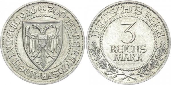 Weimarer Republik 3 Mark 1926 A Lübeck