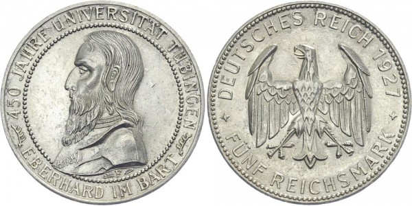 Weimarer Republik 5 Mark 1927 F Uni Tübingen