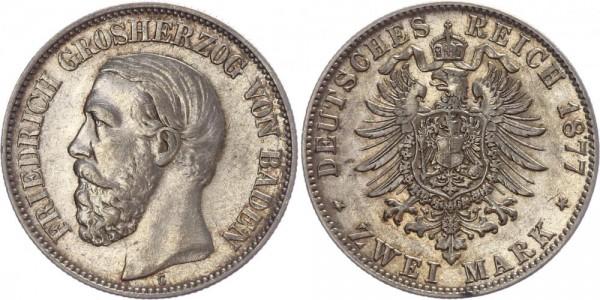 Baden 2 Mark 1877 G Friedrich