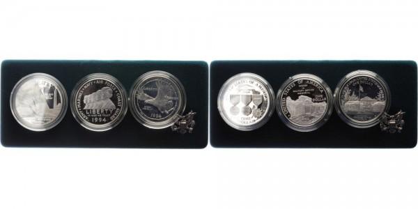 USA 3x 1 Dollar 1994 - Veteranen