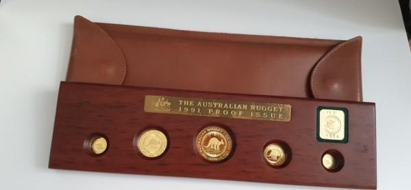 Australien 200 Dollar 1991 5er Nugget Set Proof Issue PP