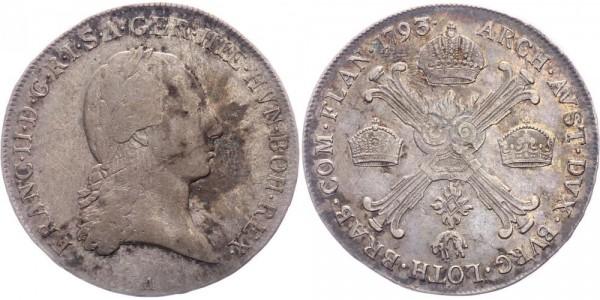 RDR/Österreich-Ungarn 1/2 Kronentaler 1793A Wien Franz II. / I. ( 1792 - 1795 )
