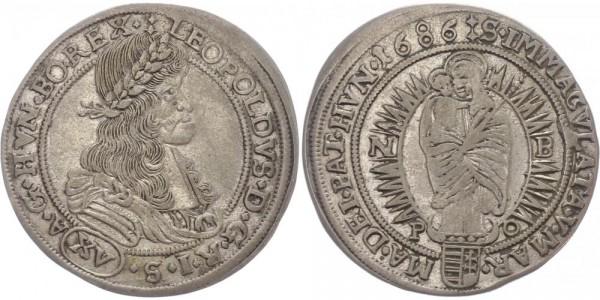 Haus Habsburg 15 Kreuzer 1686 Nagybanya Leopold I.
