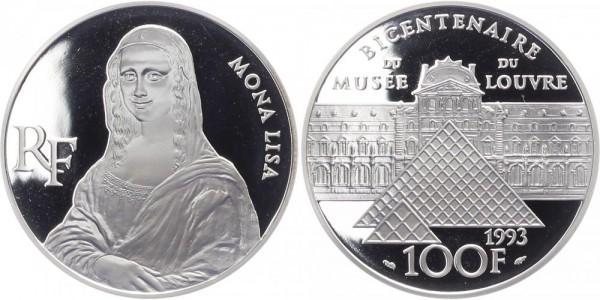 Frankreich 100 Francs 1993 - 200 Jahre Louvre, Mona Lisa