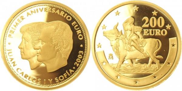 Spanien 200 Euro 2003 Juan Carlos I und Sofia / 1. Jahrestag Euroeinführung