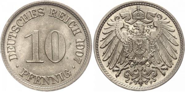 Kaiserreich 10 Pfennig 1907 F Kursmünze