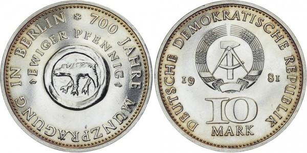 DDR 10 Mark 1981 A 700 Jahre Münzprägung