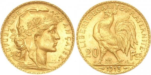 Frankreich 20 Francs 1913 Marianne Rooster