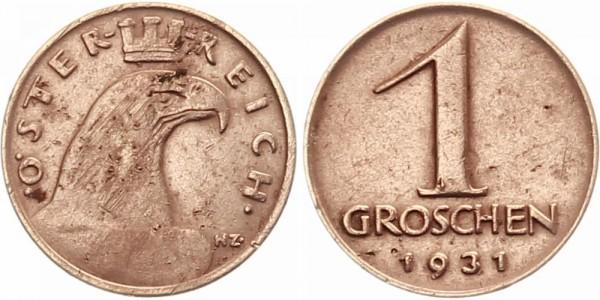 Österreich 1 Groschen 1931 - Kursmünze