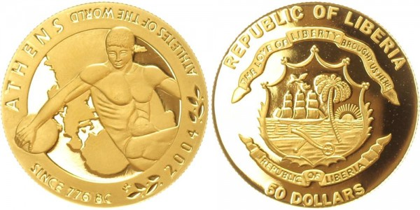 Liberia 50 Dollars 2004 Olympische Sommerspiele 2004 in Athen